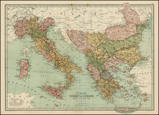 Italy, Greece, Turkey and Mediterranean Map By T. Ellwood Zell