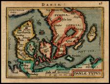 Scandinavia Map By Abraham Ortelius / Johannes Baptista Vrients