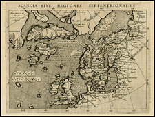 Polar Maps, Atlantic Ocean, Europe, Scandinavia, Iceland, Balearic Islands and Canada Map By Giovanni Antonio Magini