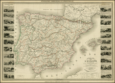 Spain and Portugal Map By Alexandre Vuillemin