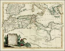 Mediterranean and North Africa Map By Antonio Zatta