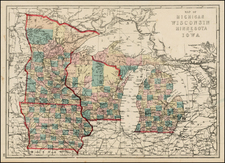 Midwest, Michigan, Minnesota, Wisconsin and Iowa Map By J. David Williams