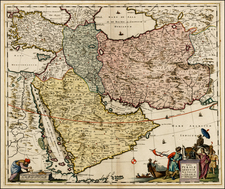 Central Asia & Caucasus, Middle East, Turkey & Asia Minor, Egypt and Balearic Islands Map By Cornelis II Danckerts
