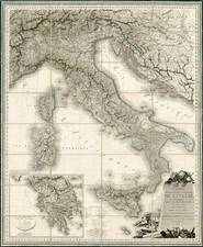 Italy and Balearic Islands Map By J. A. Orgiazzi