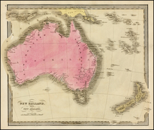 Australia and New Zealand Map By David Hugh Burr