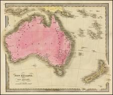 Australia and New Zealand Map By David Hugh Burr