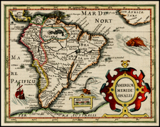 South America Map By Jodocus Hondius /  Gerard Mercator