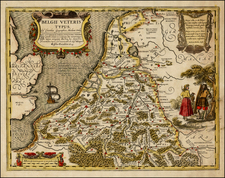 Netherlands and Luxembourg Map By Claes Janszoon Visscher