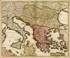 Austria, Hungary, Balkans, Italy, Greece, Turkey and Balearic Islands Map By Frederick De Wit