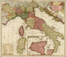 Italy and Balearic Islands Map By Peter Schenk