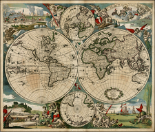 World, World and Polar Maps Map By Justus Danckerts