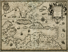 South, Southeast, Caribbean and South America Map By Theodor De Bry / Girolamo Benzoni