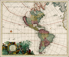 South America, California and America Map By Gerard & Leonard Valk