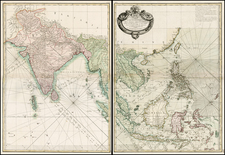 Indian Ocean, China, Japan, Korea, India, Southeast Asia and Other Islands Map By Jean Lattré