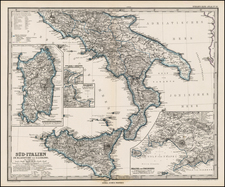 Italy and Balearic Islands Map By Adolf Stieler