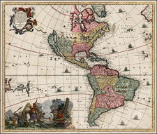 Western Hemisphere, South America, California and America Map By Jacob Sandrart
