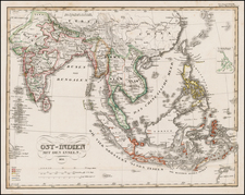 China, India, Southeast Asia and Philippines Map By Adolf Stieler