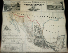 Texas, Southwest and Mexico Map By Antonio Garcia y Cubas