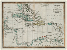 Caribbean and Central America Map By Weimar Geographische Institut
