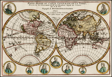 World and World Map By Nicolas de Fer / Guillaume Danet