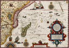 Indian Ocean, Africa, South Africa and East Africa Map By Jan Huygen Van Linschoten