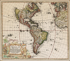 Western Hemisphere, South America and America Map By Homann Heirs / Johann Matthaus Haas
