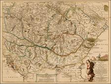 Ukraine, Hungary, Romania and Balkans Map By Nicolas de Fer / Guillaume Danet
