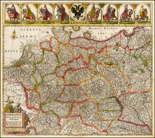 Europe, Netherlands, Germany, Austria, Poland, Hungary and Czech Republic & Slovakia Map By Johannes Cloppenburg