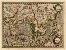 China, India, Southeast Asia and Philippines Map By Jodocus Hondius