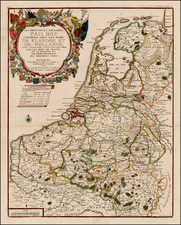 Netherlands Map By Nicolas de Fer / Guillaume Danet