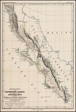 Mexico, Baja California and California Map By Augustus Herman Petermann