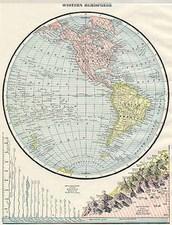 World, Western Hemisphere and Curiosities Map By George F. Cram