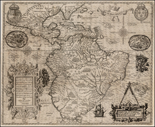 Mexico, Caribbean, Central America and South America Map By Theodor De Bry