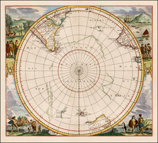 Polar Maps, South America, Pacific, Australia and New Zealand Map By Jan Jansson