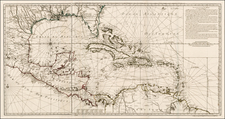 Florida, South, Texas, Mexico, Caribbean and Central America Map By Philippe Buache