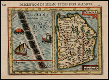 India and Other Islands Map By Pieter Bertius