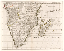 South Africa and East Africa Map By Guillaume De L'Isle  &  Philippe Buache