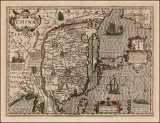 China, Japan and Korea Map By Jodocus Hondius