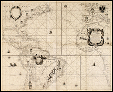 North America, Caribbean, South America, Africa, Africa and America Map By Willem Janszoon Blaeu