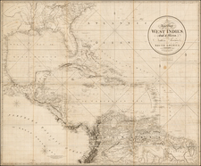 Florida, South, Southeast, Texas, Mexico, Caribbean and Central America Map By Richard Holmes Laurie
