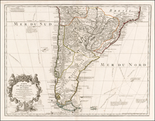 South America, Argentina and Chile Map By Guillaume De L'Isle / Philippe Buache