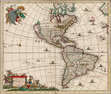 South America and America Map By Justus Danckerts
