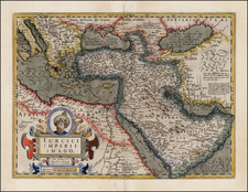 Balkans, Greece, Turkey, Mediterranean, Balearic Islands, Central Asia & Caucasus, Middle East, Holy Land, Turkey & Asia Minor, Egypt, North Africa and Russia in Asia Map By Jodocus Hondius