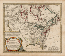 United States, Alaska and Canada Map By Didier Robert de Vaugondy