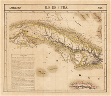Cuba, Jamaica and Other Islands Map By Philippe Marie Vandermaelen