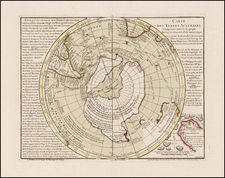 Southern Hemisphere, Polar Maps and New Zealand Map By Philippe Buache