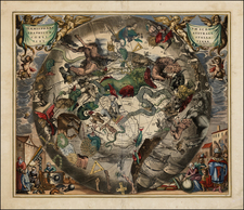World, Eastern Hemisphere, Polar Maps, Celestial Maps and Curiosities Map By Andreas Cellarius