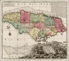 Caribbean and Jamaica Map By Matthaus Seutter