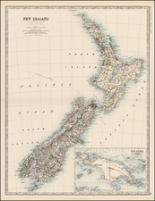 New Zealand Map By W. & A.K. Johnston
