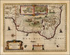 Brazil Map By Henricus Hondius